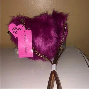 NWT Betsey Johnson Pink Heart Fur Crossbody Bag